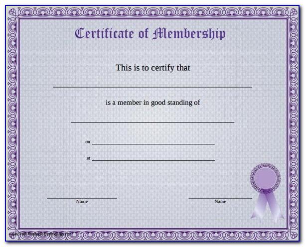 Membership Certificate Template Word Free