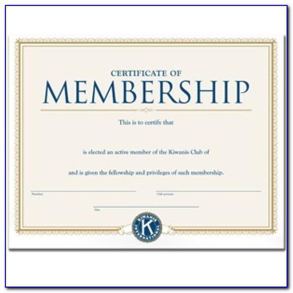 Membership Certificate Template Word