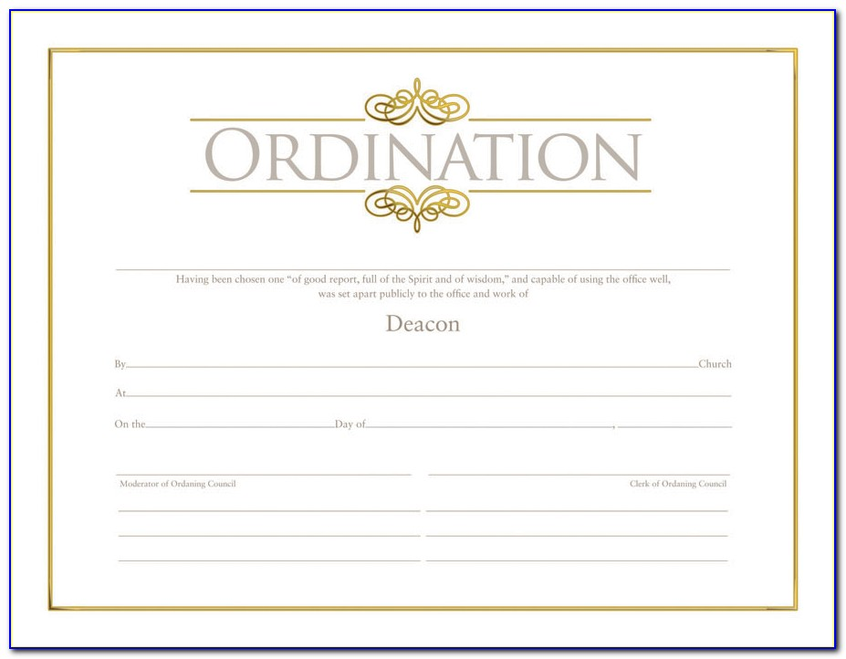 Minister Ordination Certificate Template