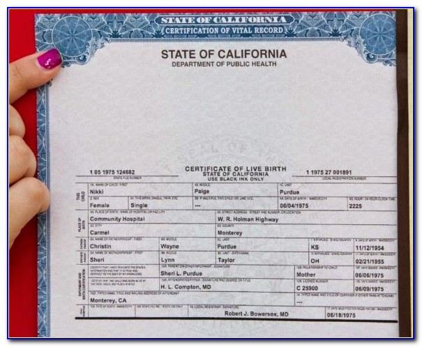 Monterey County California Birth Certificate
