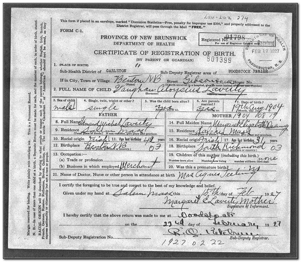 New Brunswick Birth Certificate Application