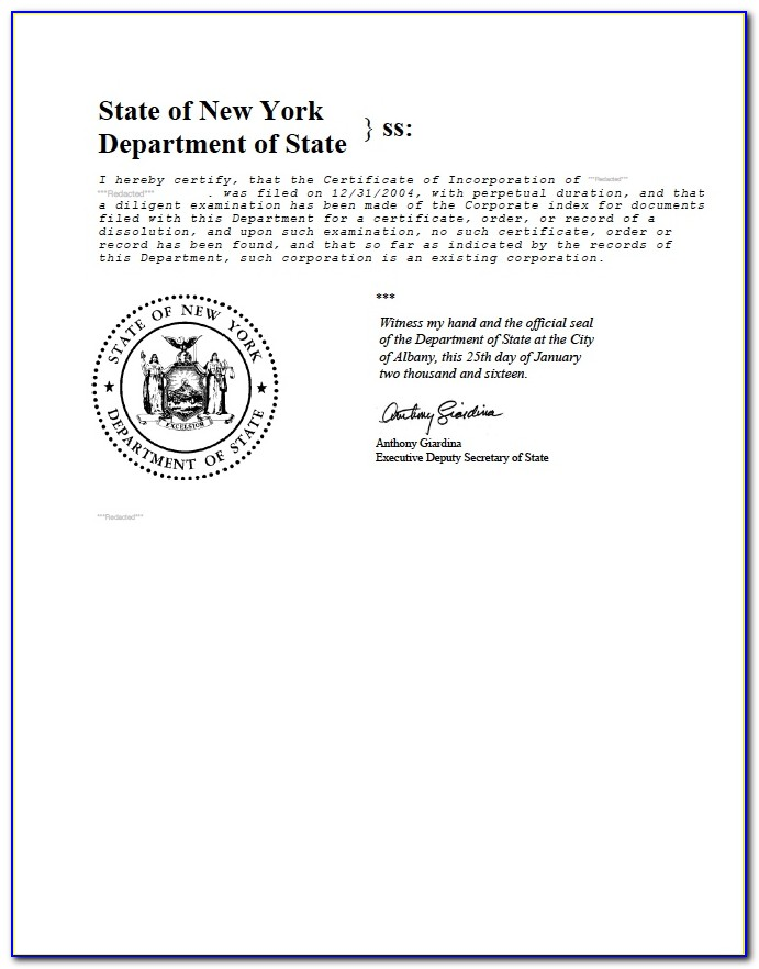 New York State Certificate Of Good Standing Attorney