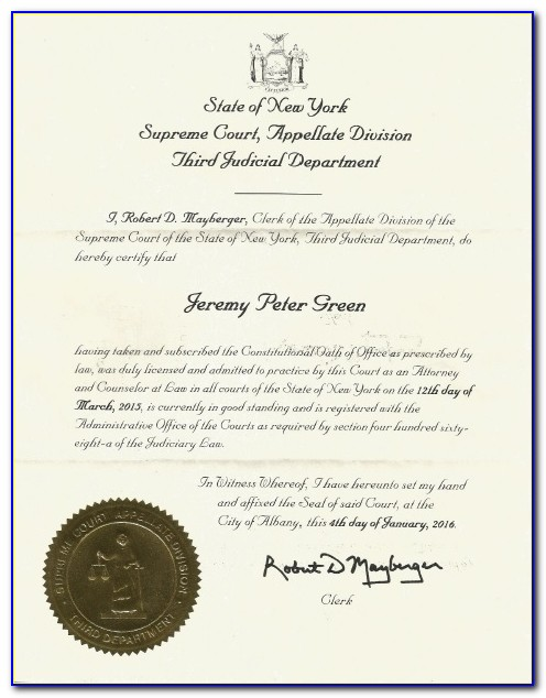 New York State Certificate Of Good Standing Corporation