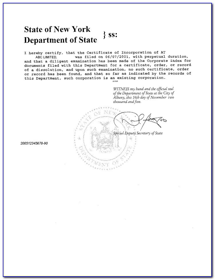 New York State Certificate Of Good Standing First Department