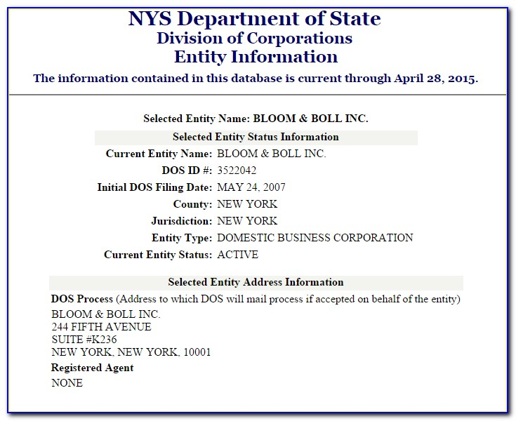 New York State Certificate Of Good Standing Request