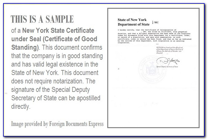 New York State Certificate Of Good Standing Search