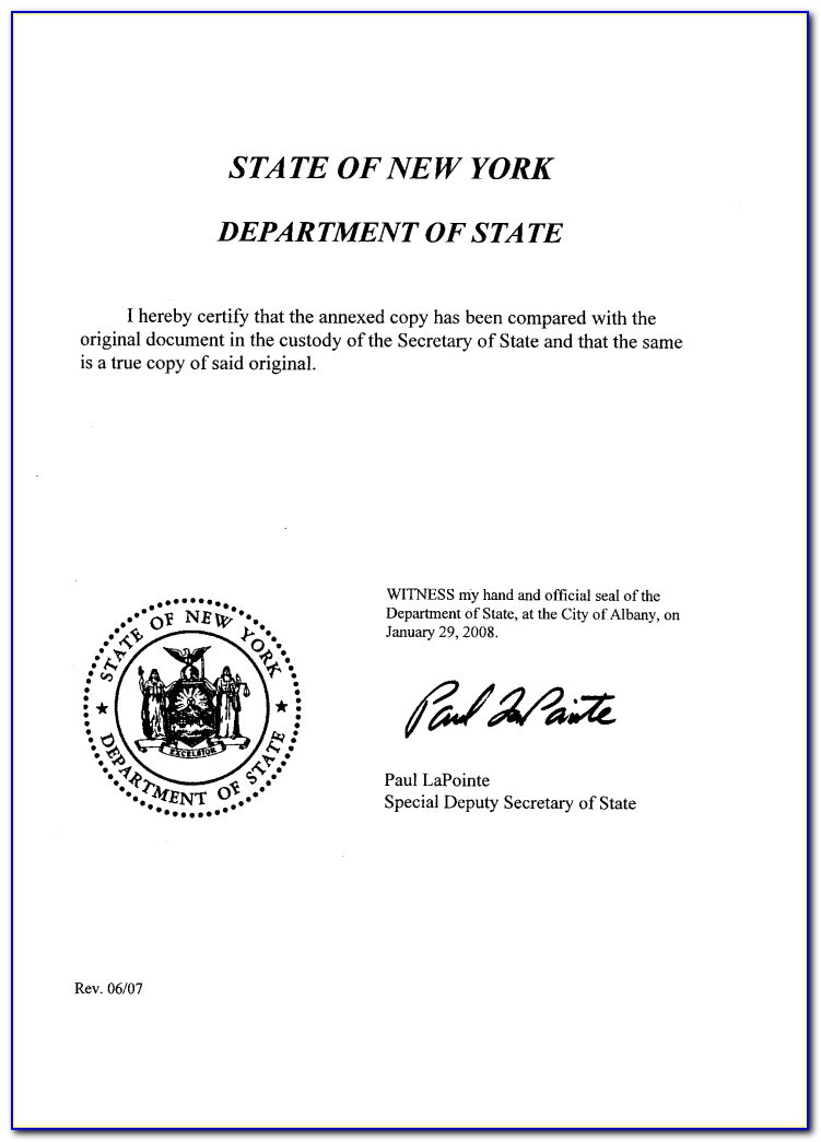 New York State Certificate Of Good Standing Second Department