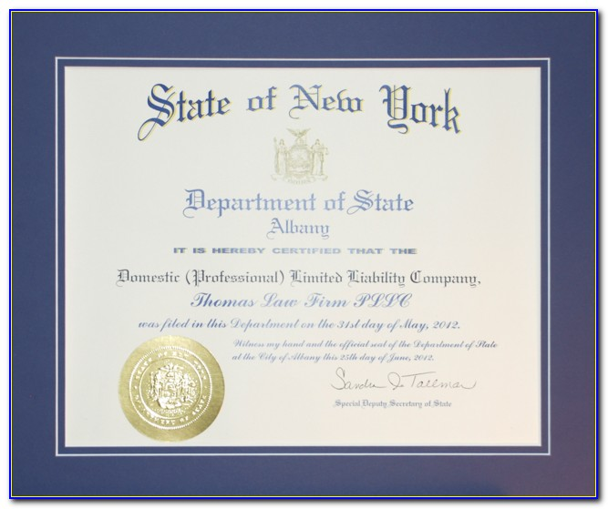 New York State Letter Of Good Standing