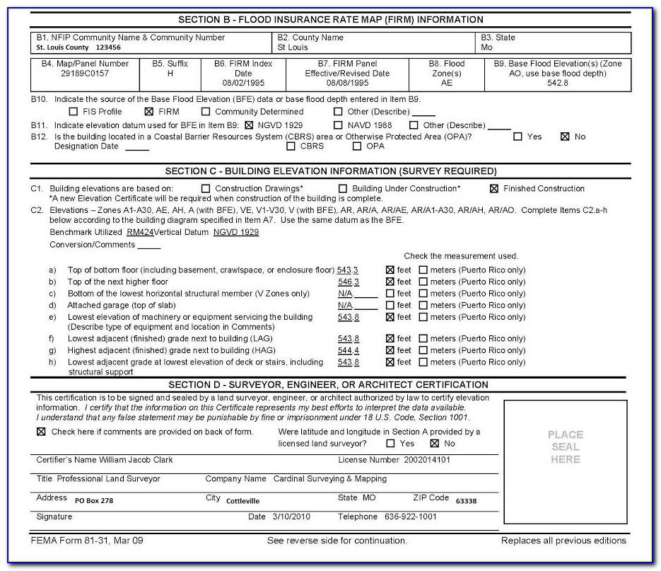 Nfip Elevation Certificate Requirements
