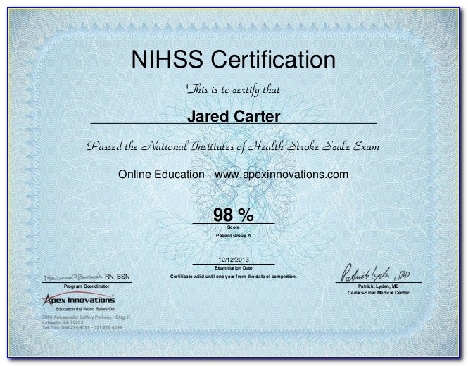 Nihss Certification Test Answers