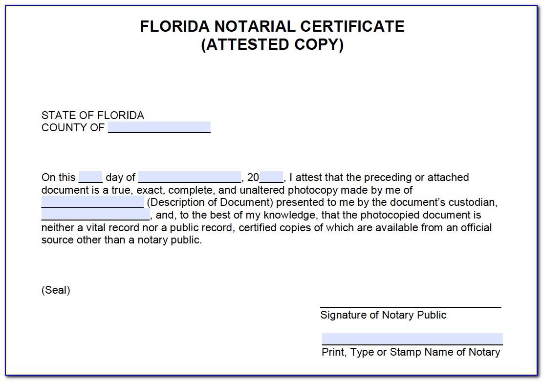 Notarial Certificate Florida 2020