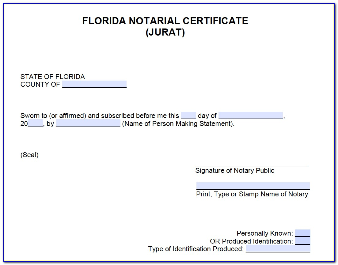 Notarial Certificate Florida Sample