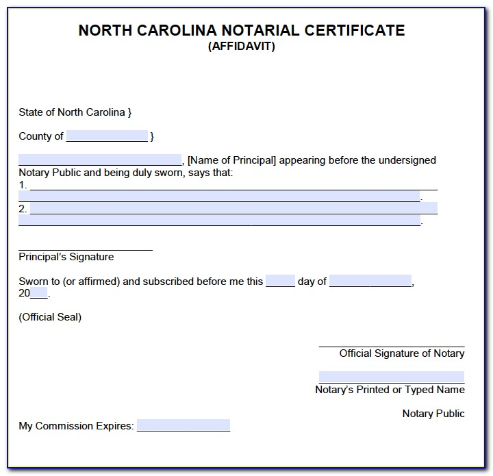 Notary Certificate North Carolina