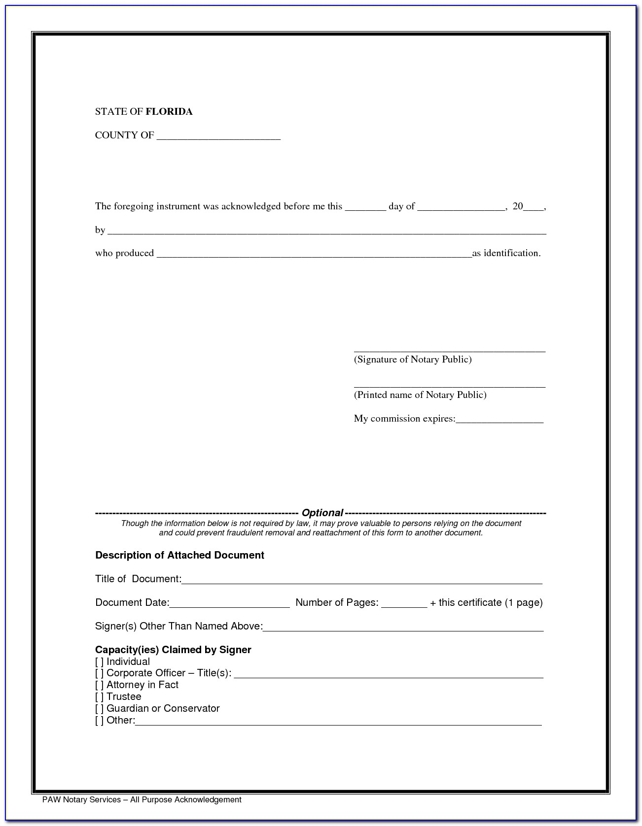Notary Certification Florida Sample