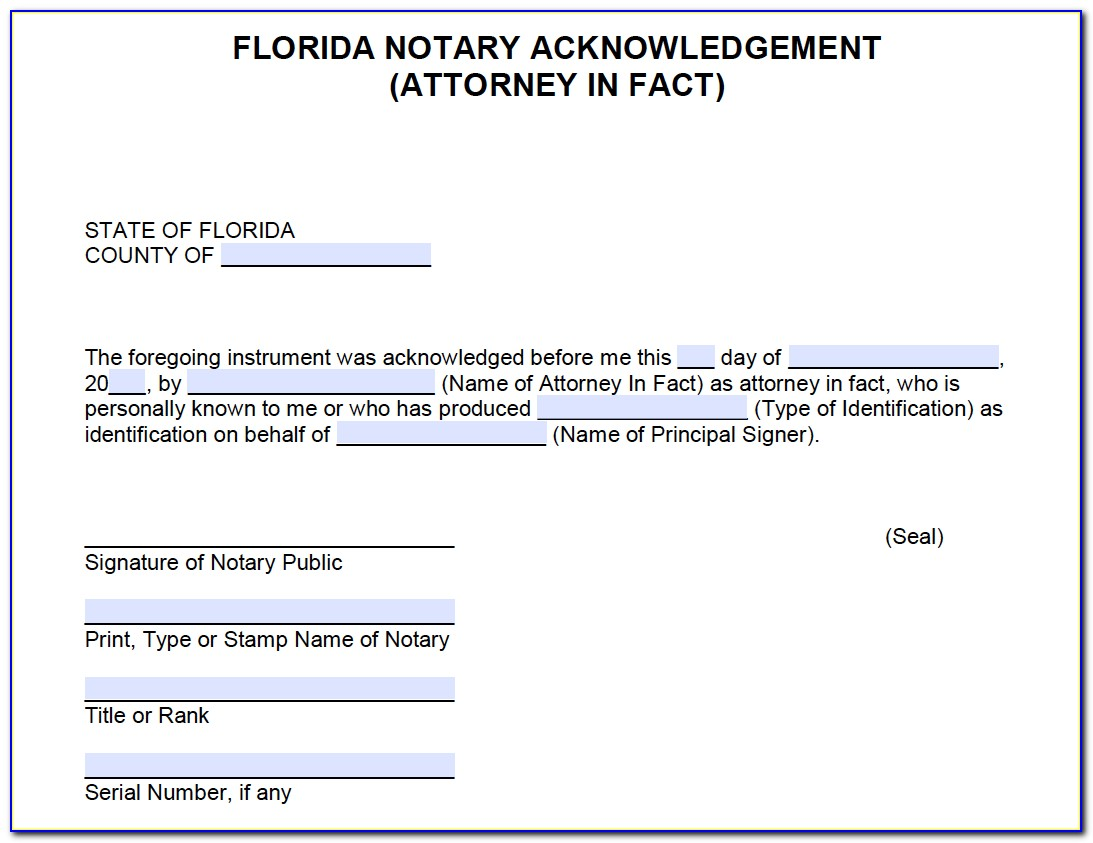 Notary Certification Statement Florida
