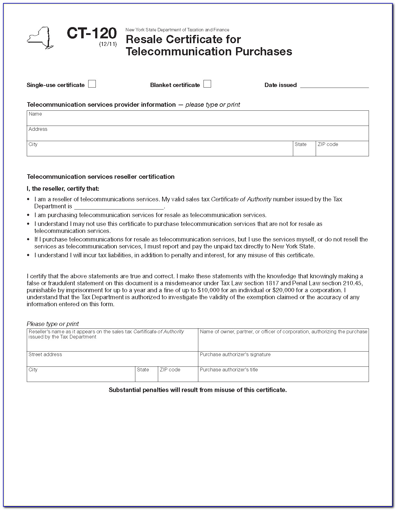 Ny Sales Tax Certificate