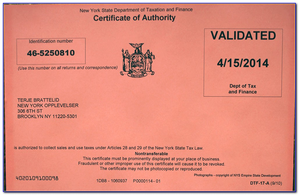 Nys Sales Tax Certificate Application