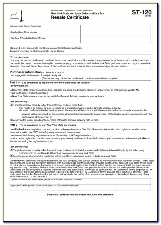 Nys Sales Tax Certificate Form