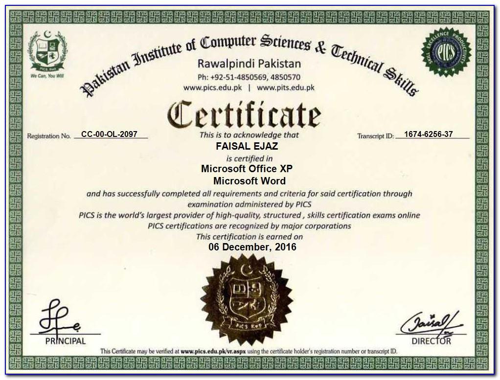 Online Computer Certificate Free
