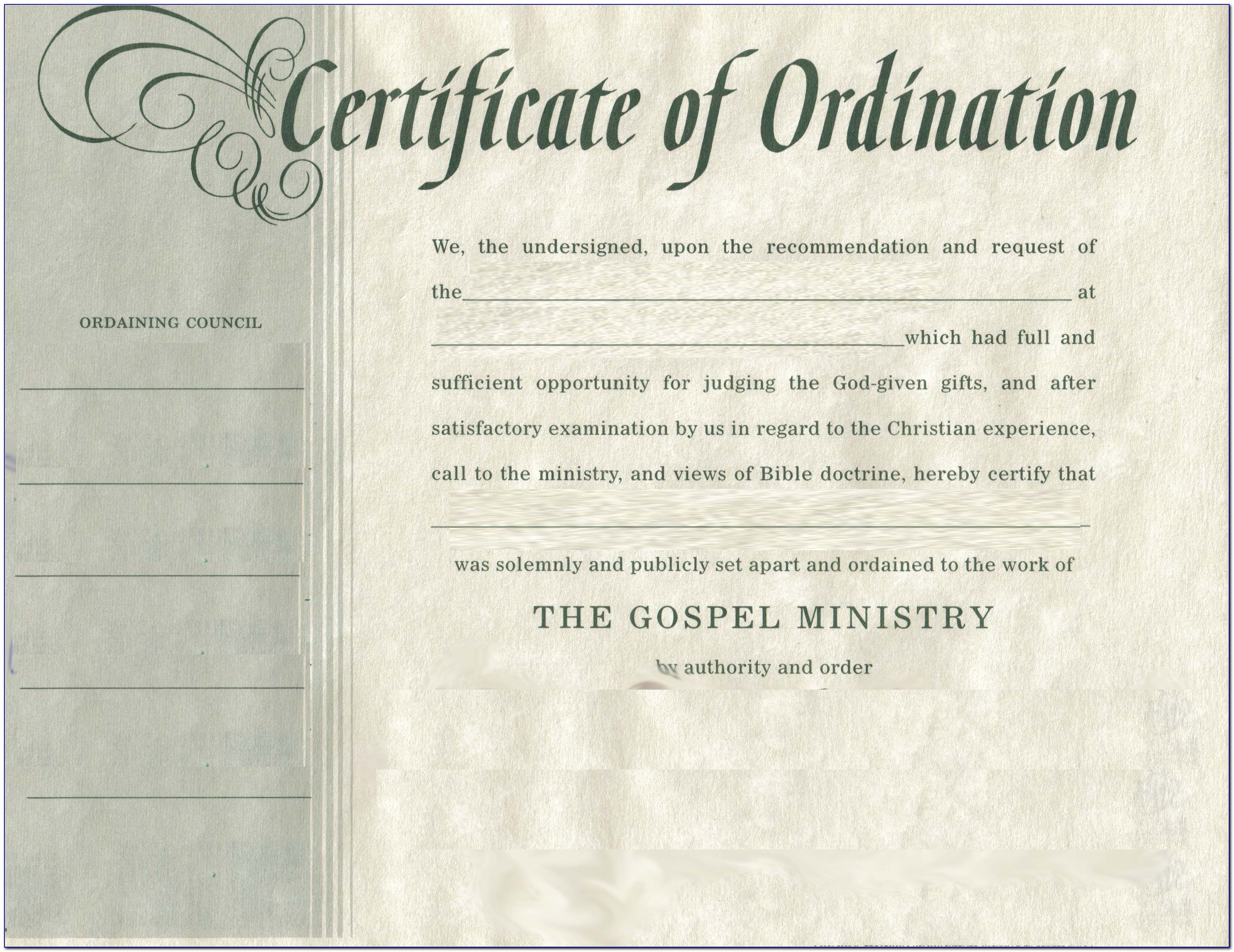 Ordination Certificate Examples