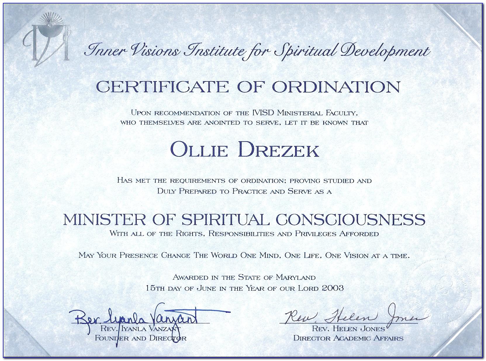 Ordination Certificate Word Template