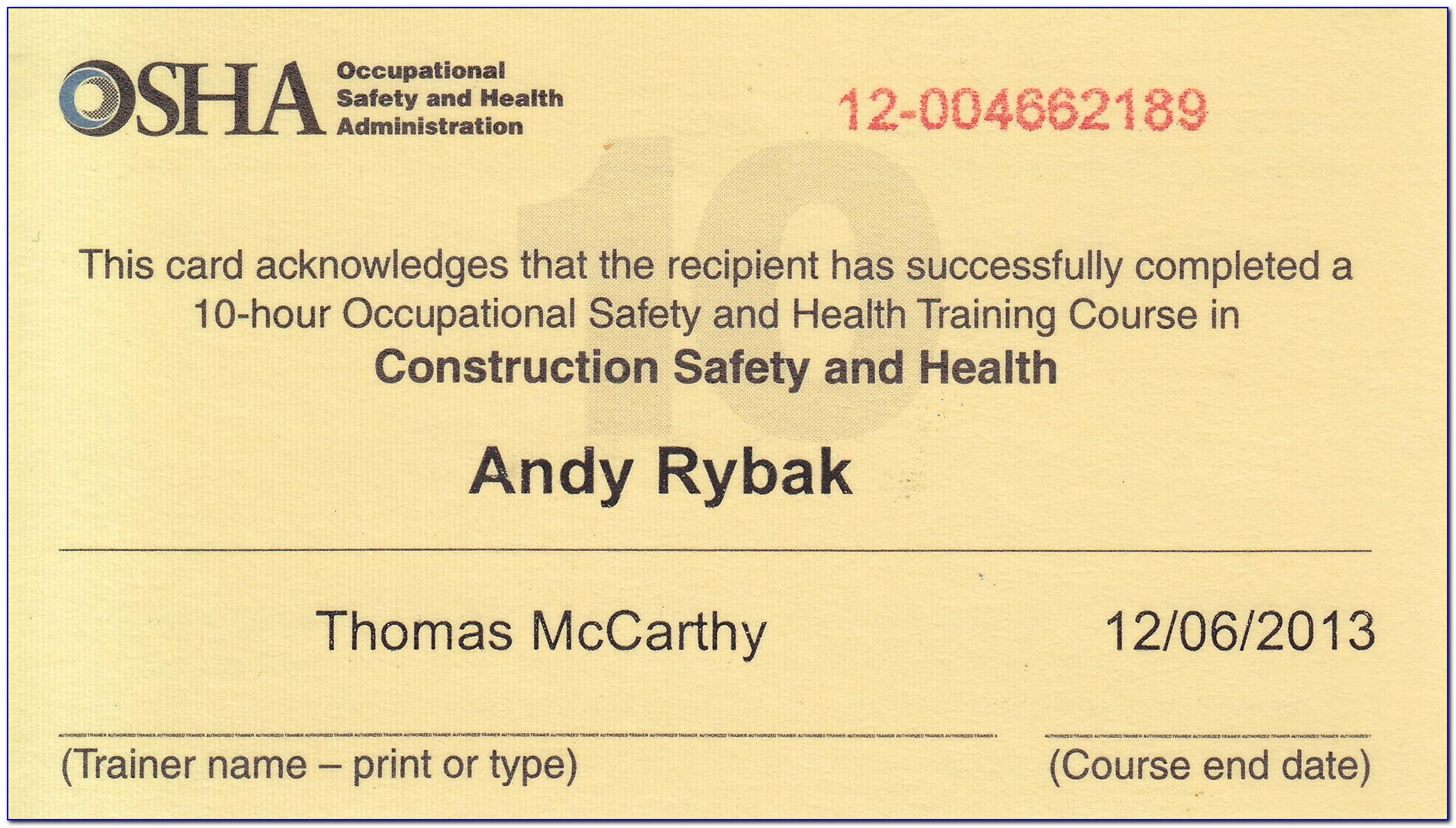 Osha Certification Nyc Free