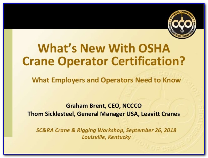 Osha Crane Operator Certification Requirements