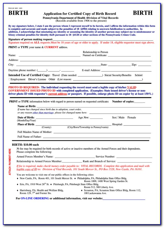Pa Birth Certificate Online Application