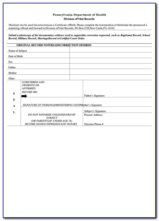 Pa Birth Certificate Online Order
