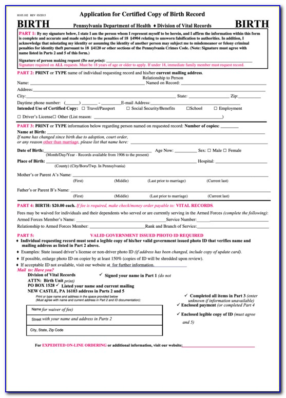Pa Birth Certificate Replacement Online