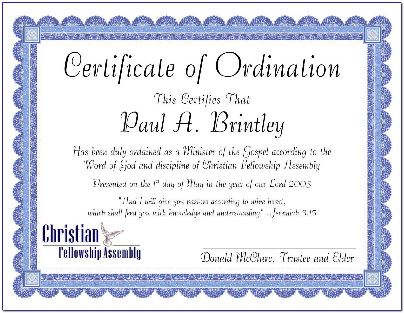Pastor Ordination Certificate Wording
