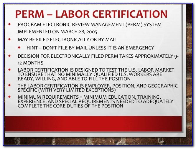 Perm Labor Certification Status Check