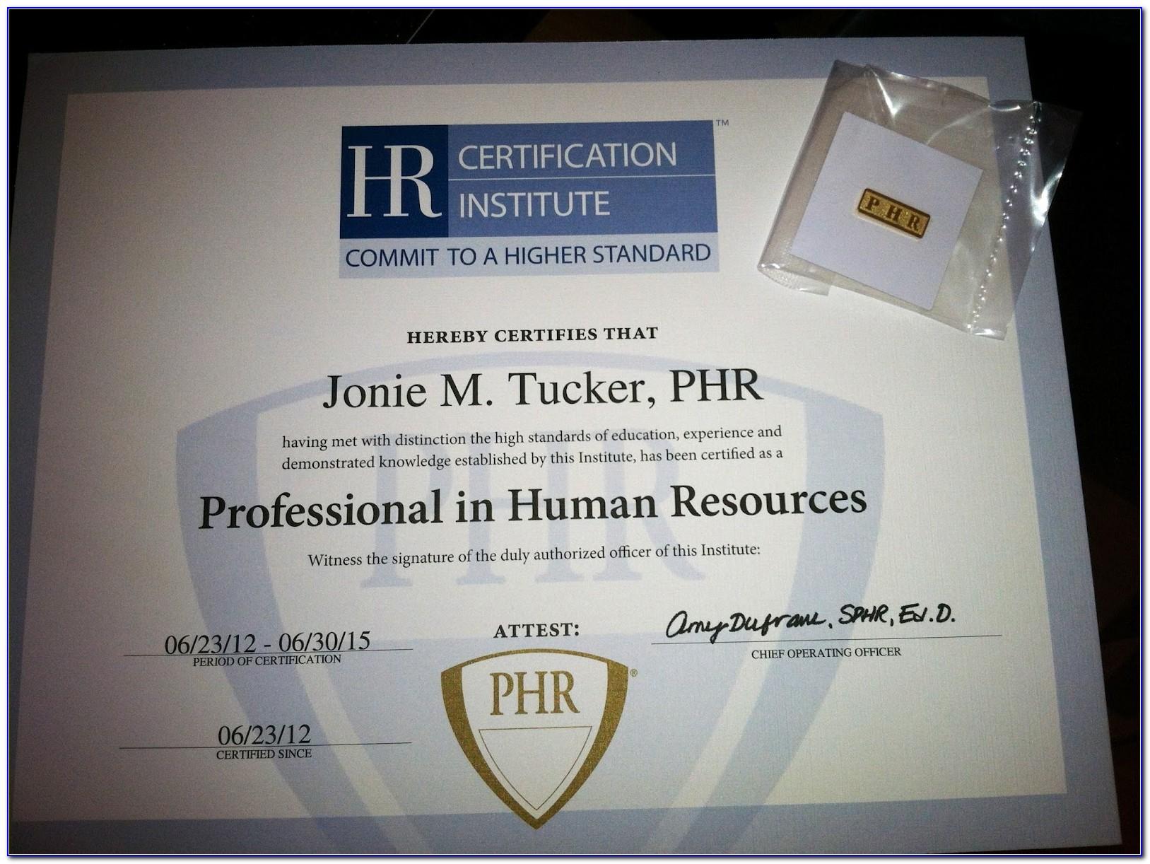 Phr Certification Classes Atlanta Ga