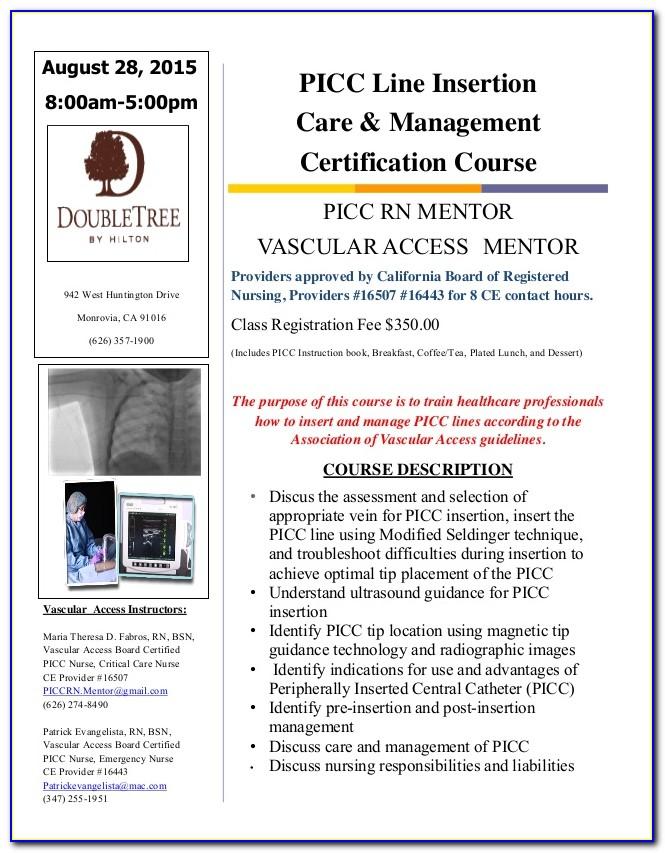 Picc Line Certification California