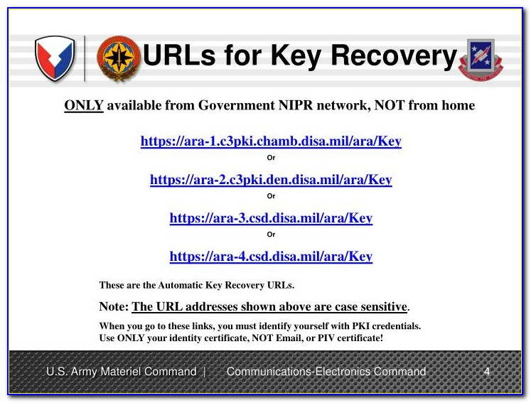 Pki Certificate Recovery Air Force