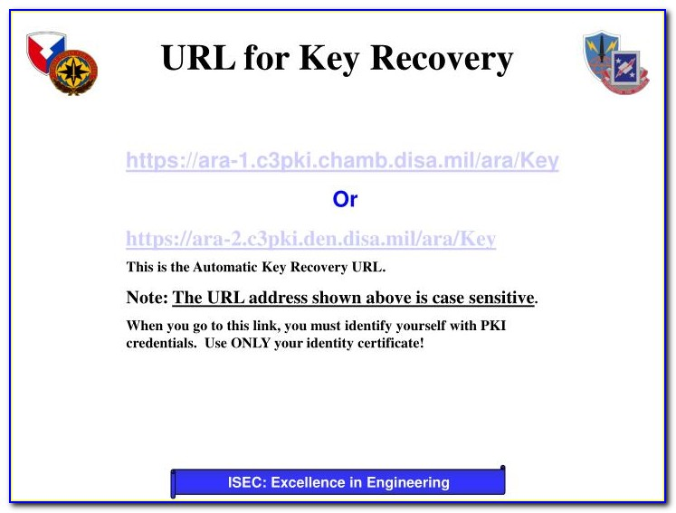 Pki Certificate Recovery Army