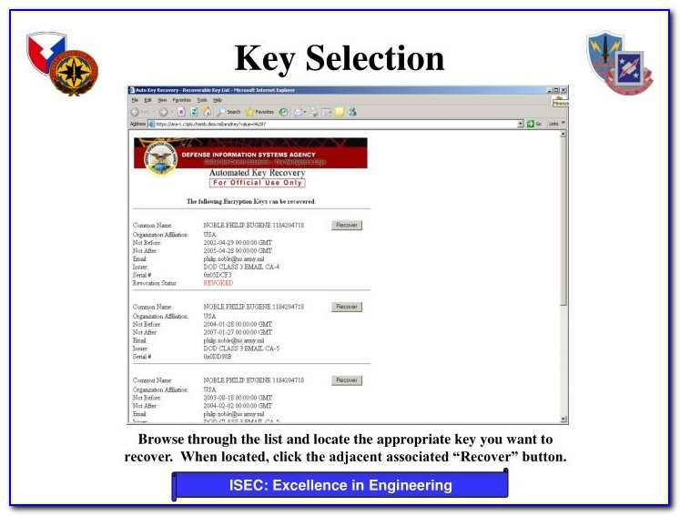 Pki Certificate Recovery Lackland
