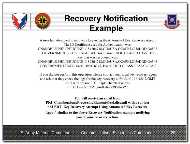 Pki Certificate Recovery Site
