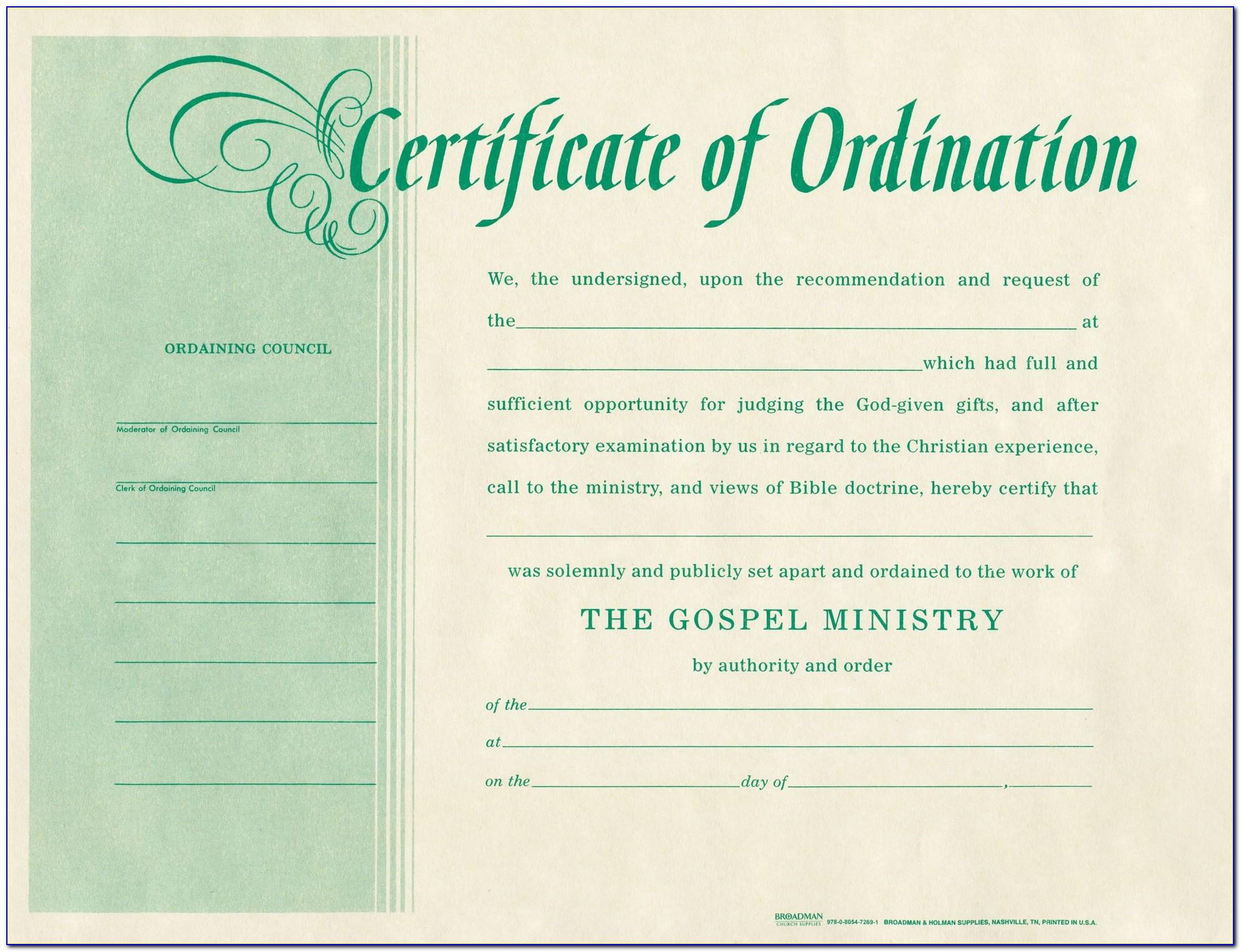 Printable Pastor Ordination Certificate