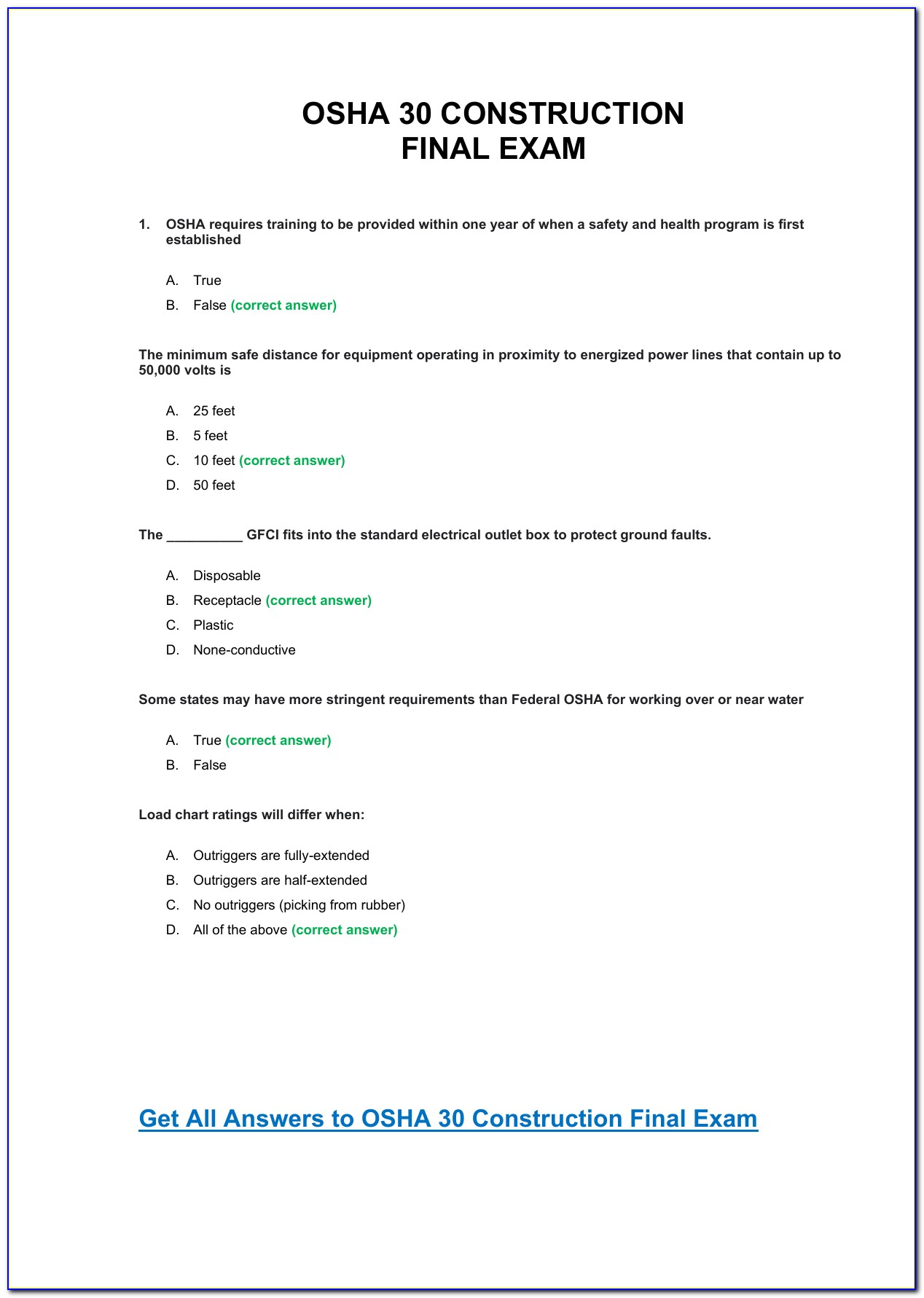 Ramp Certification Final Test Answers