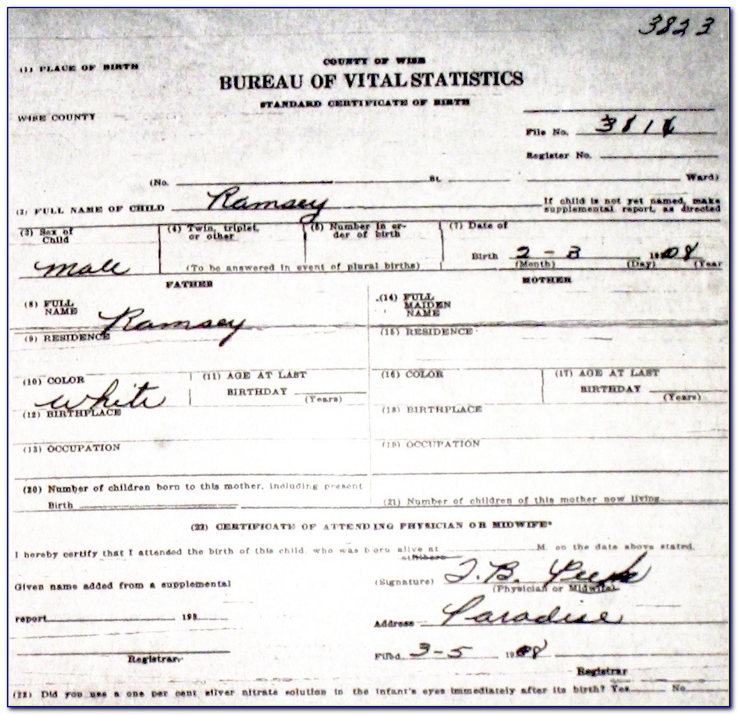 Ramsey County Certified Birth Certificate
