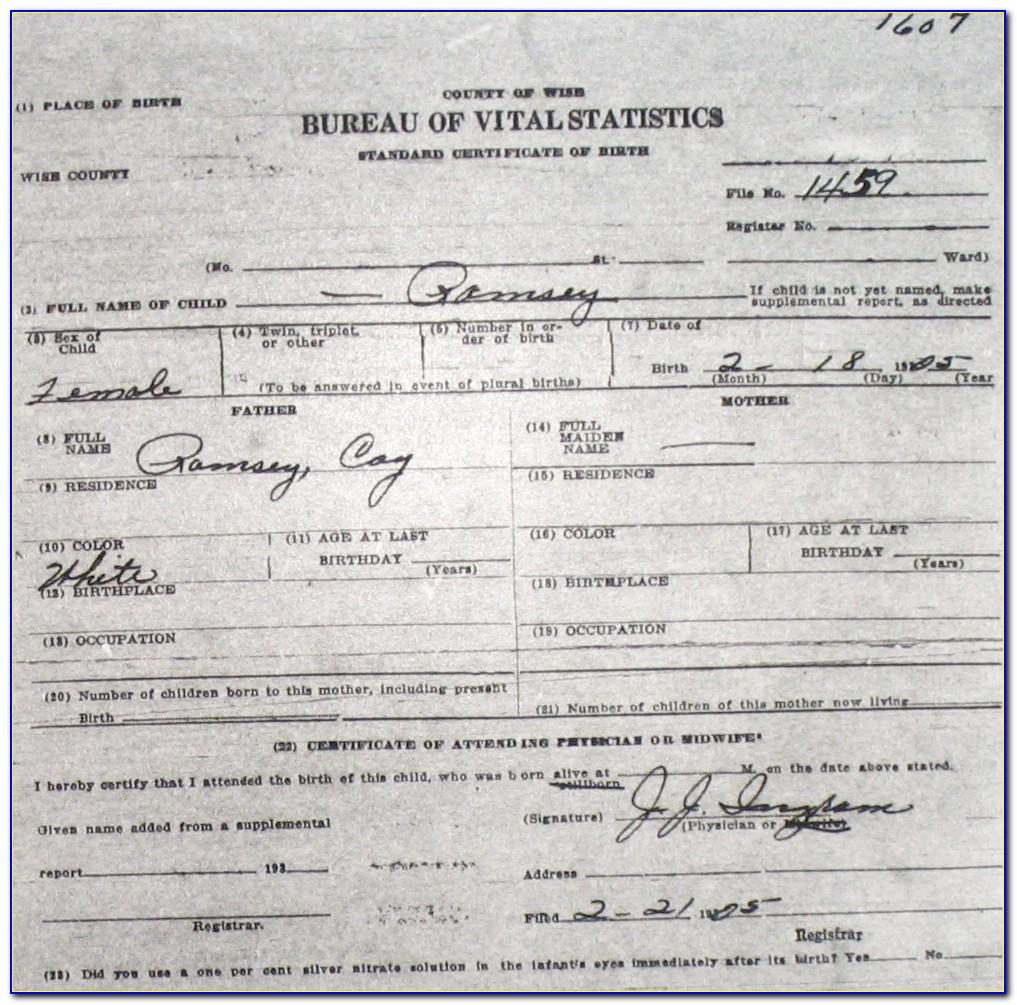 Ramsey County Minnesota Birth Certificate