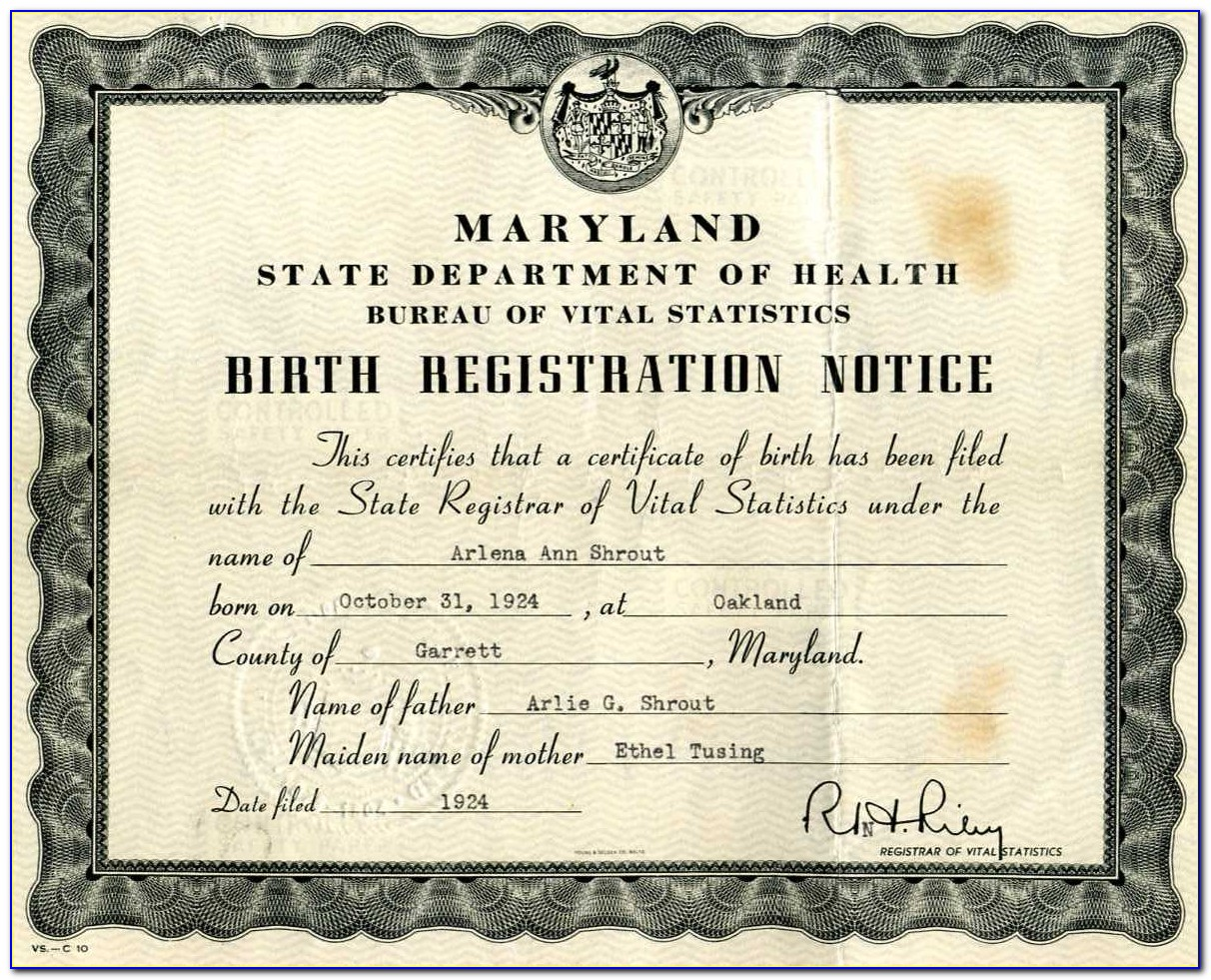 Replacement Birth Certificate Maryland