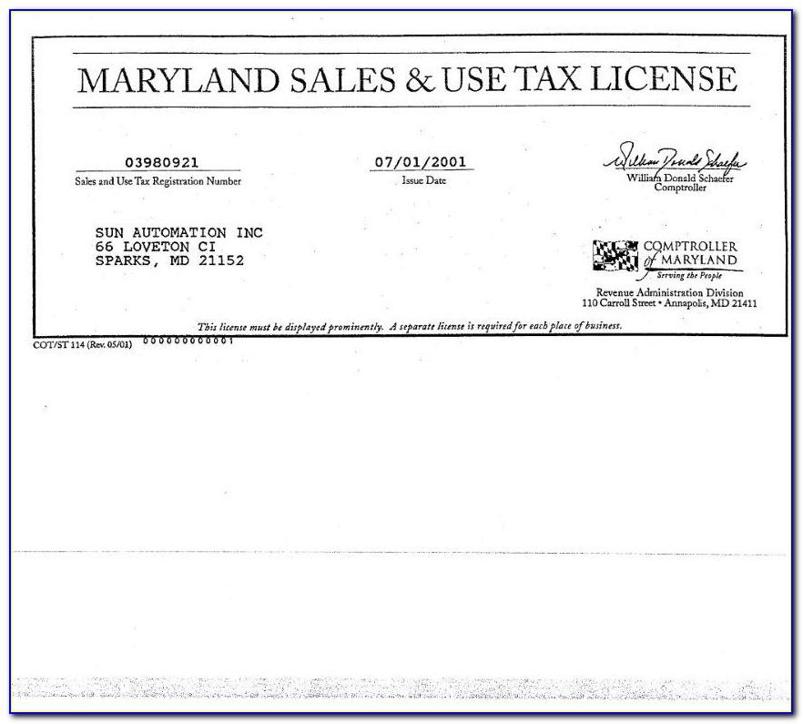 Resale Certificate Form Md