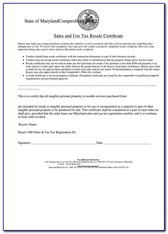 Resale Certificate Md