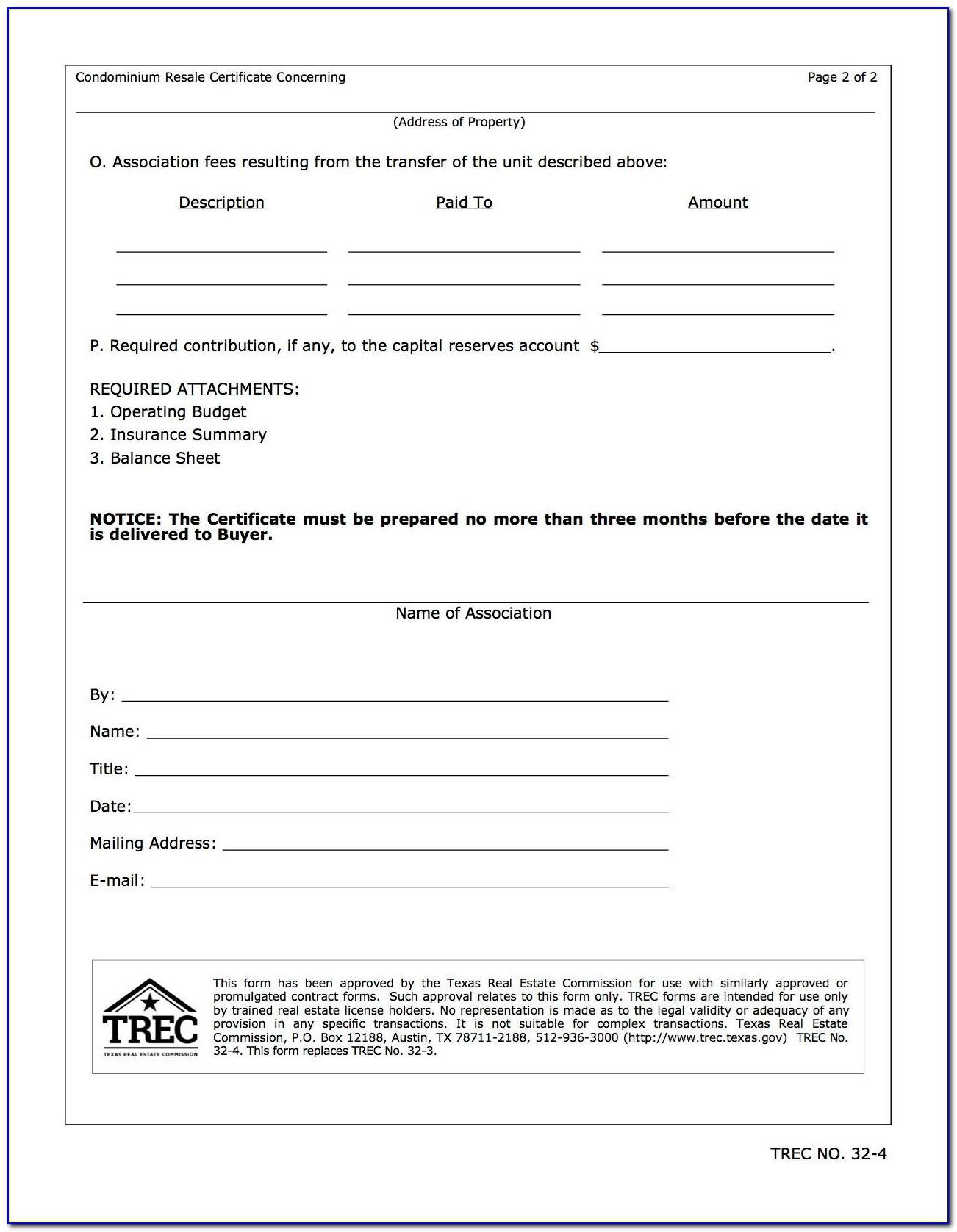 Resale Certificate Wa Condo