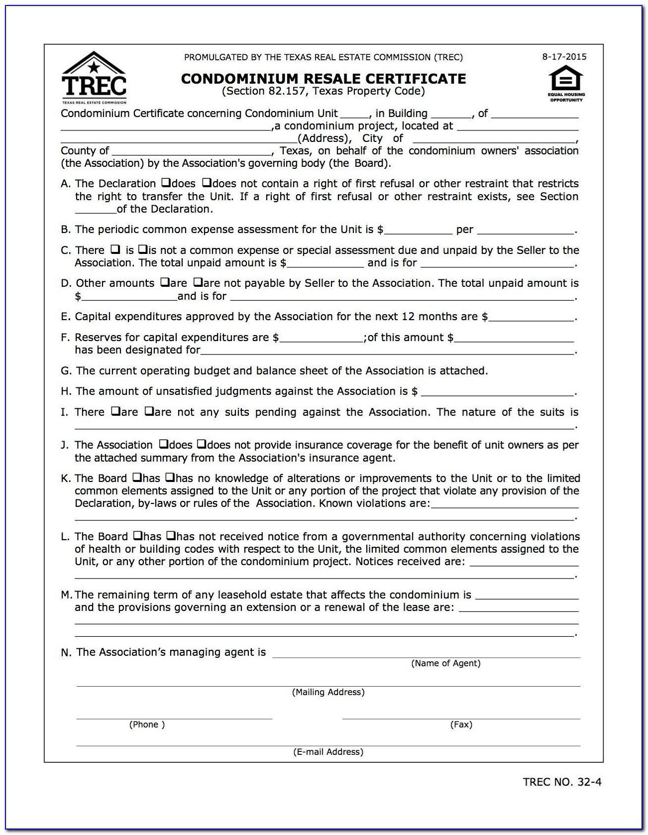 Resale Certificate Washington Dc