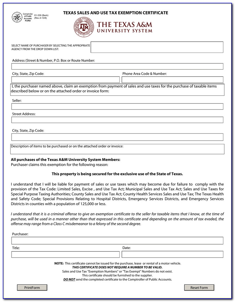 Sales Tax Certificate Texas Form