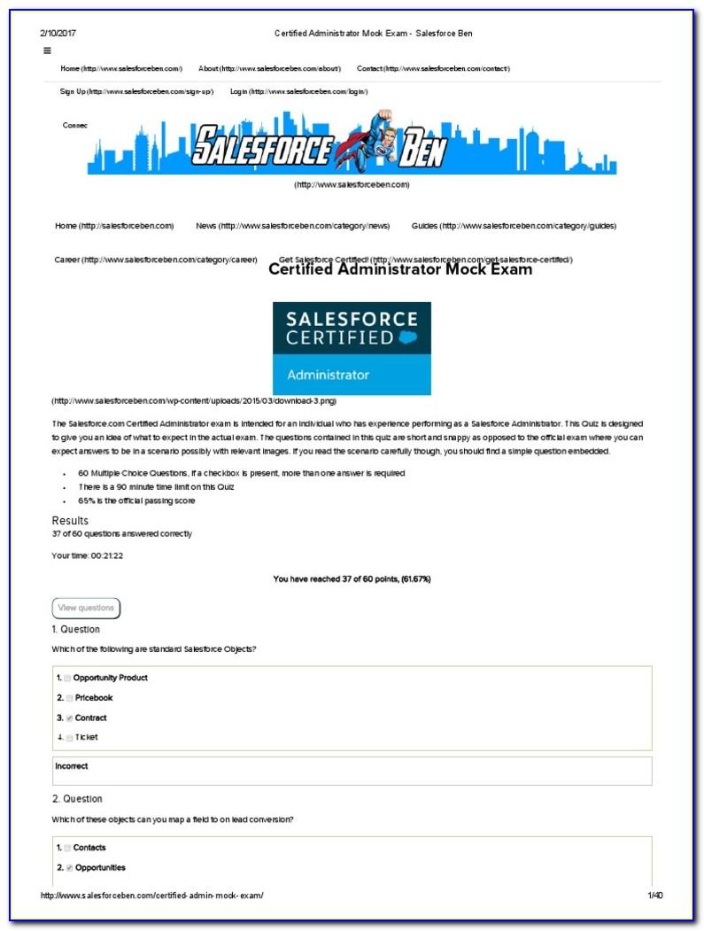 Salesforce Admin Certification Dumps 2020 Proprofs