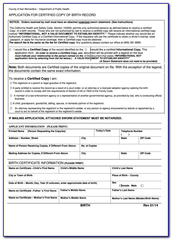 San Bernardino County Clerk's Office Birth Certificate